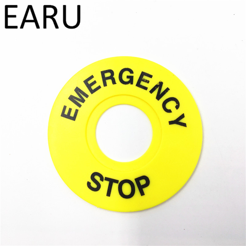 Emergency stop <font><b>button</b></font> switch alarm ring <font><b>60mm</b></font> yellow sign <font><b>button</b></font> box STOP opening 22mm image