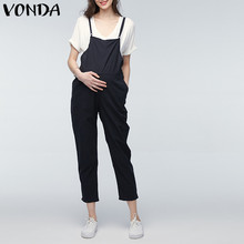VONDA Maternity Clothings 2018 Gravid Rompers Kvinnor Jumpsuits Casual Graviditet Byxor Ärmlös Byxor Bottoms Overalls 5XL