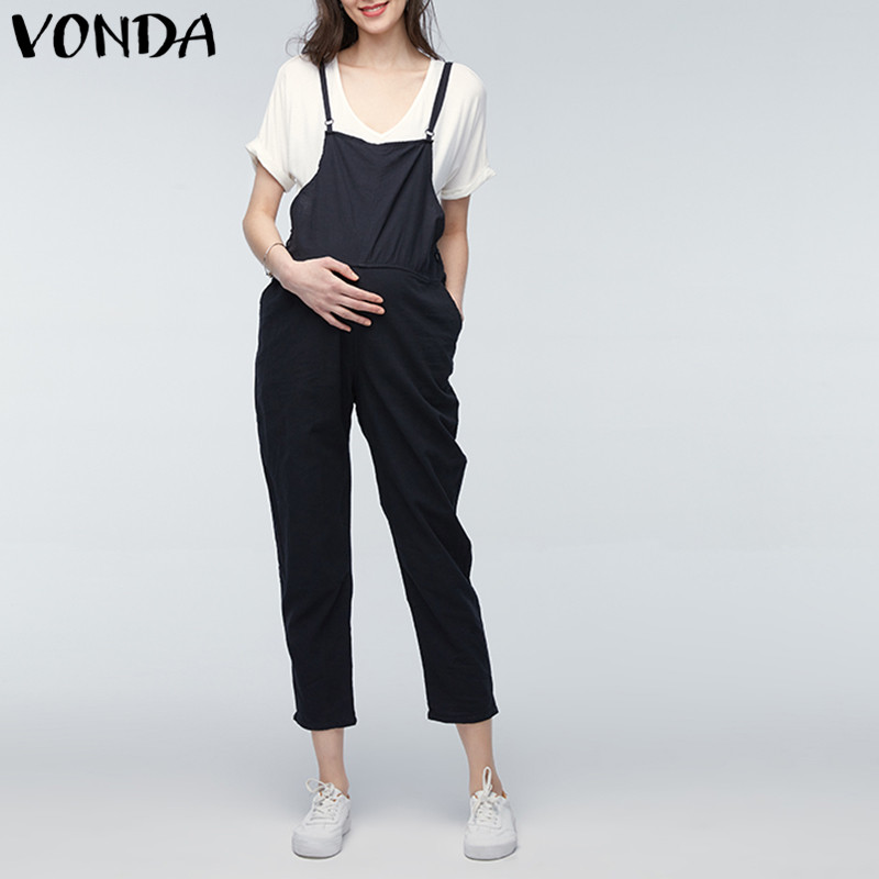 VONDA Maternity Clothings 2018 Gravid Rompers Kvinnor Jumpsuits - Graviditet och moderskap