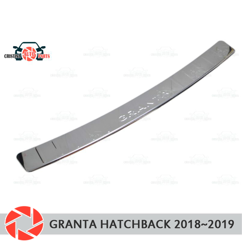 Plate cover rear bumper for Lada Granta Hatchback 2018~ guard protection plate car styling decoration accessories molding stamp 1pcs abs chrome carbon fiber exterior car accessories rear bumper trim cover molding for toyota c hr chr 2016 2017 styling