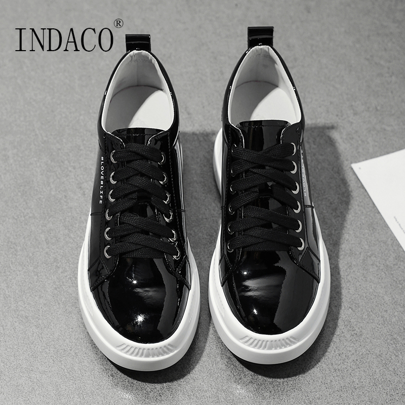 2019 Leather Shoes Women Sneakers Platform Black Beige Casual Women Sneakers 7 5cm