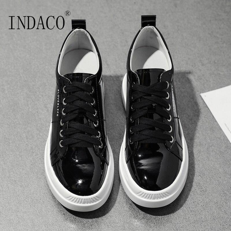 2019 Leather Shoes Women Sneakers Platform Black Beige Casual Women Sneakers  7.5cm