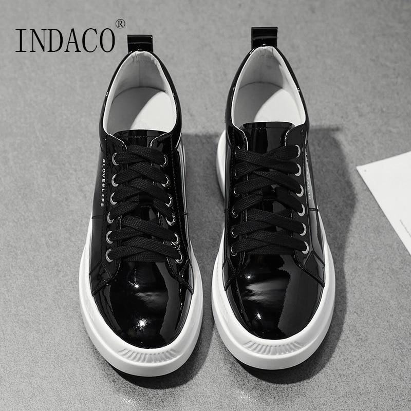 2019 skórzane buty kobiet Sneakers platformy czarne beżowe na co dzień kobiety trampki 7.5 cm w Damskie buty z gumową podeszwą od Buty na  Grupa 1