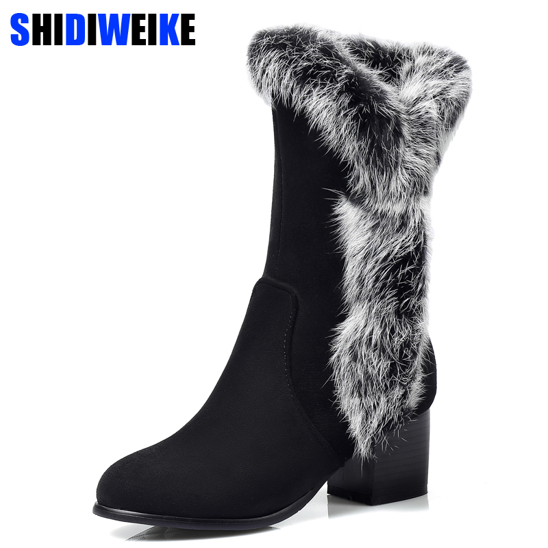 Winter Women Snow Boots Warm Antieskid Mid Calf Boots Square heel Slip On Casual Women Flock Rabbit hair Shoes n069 xiaying smile winter women snow boots warm antieskid mid calf boots platform strap slip on flats casual women flock rubber shoes