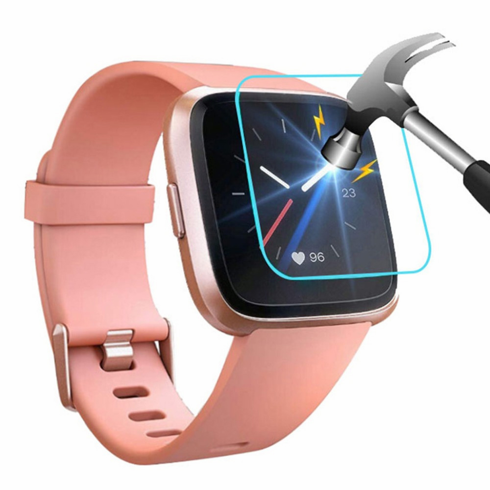 Protector Cover-Guard Screen-Film Tempered-Glass Smart-Watch Versa-Lite Fitbit for Anti-Shatter