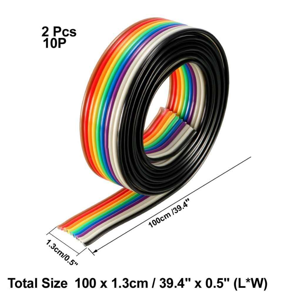 UXCELL 2 sztuk 1 metr długości 1.3mm średnica drutu 10 pinów kabel mostkujący płaski kabel taśmowy 1.27mm miedzi wstążka z drutu drutu kolor tęczy