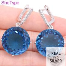 16.7g Big Gemstone Round 20x20mm AAA+ Top London Blue Topaz CZ Real 925 Solid Sterling Silver Earrings 37x22mm