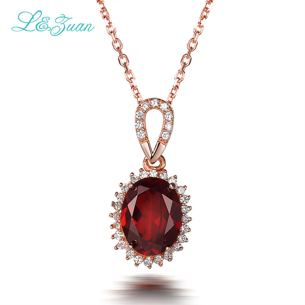 L&zuan S925 Silver Garnet Pendants Necklaces Classic Wine Red Oval Gemstones With Chain Fine jewelry