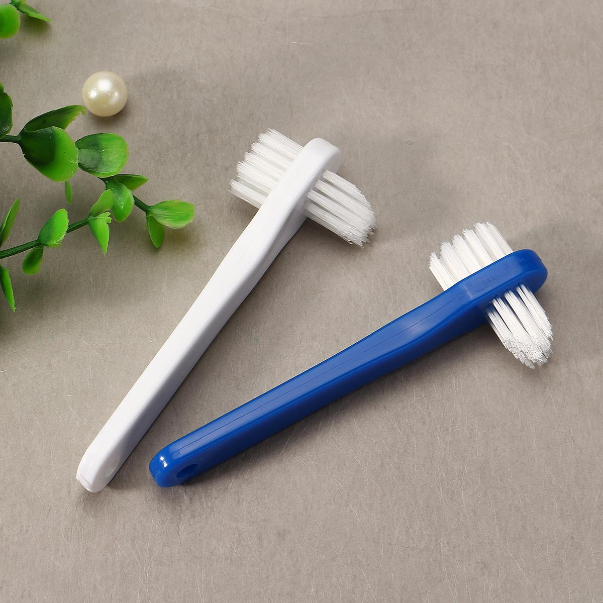 T-shape New Denture Dedicated Brush Toothbrush Dual Heads False Teeth Brushes Gum Cleaner For Men Women 2017 Blue White Color image