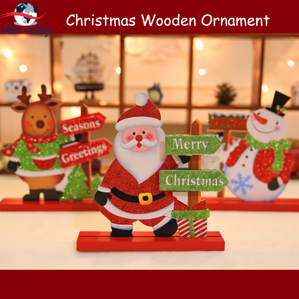 Dapper 2 Stks Vrolijk Christus-mas Houten Craft Orna-ment Desktop Tafel Decor-atie Navidad Rein-herten Santa Sneeuwpop Stand Xmas Gift Voor Kinderen