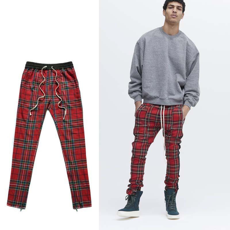 все цены на XIERUIS 2017 Autumn New Men Plaid Trousers Men Women Casual Grid Pants Drawstring Waist Fear Of God Fog Skinny Pants