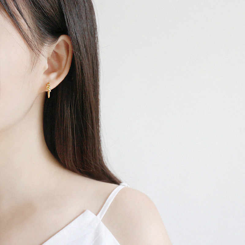 b28638d3953ef OLOEY Authentic 100% 925 Sterling Silver Hoop Earrings for Women Korean  Minimalist Circle Knot Earring Fine Jewelry Gift YME278