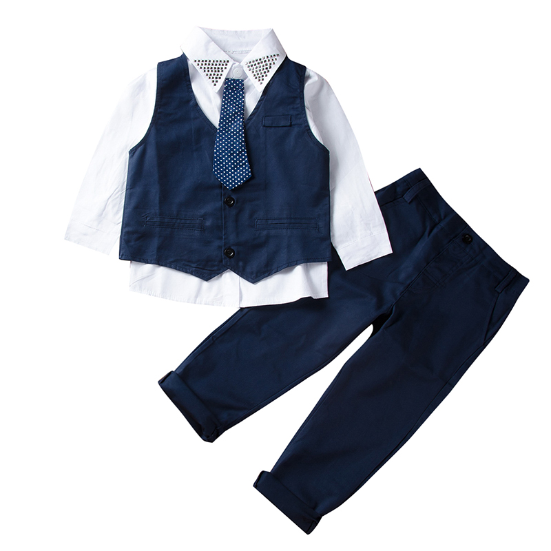 Kids Baby Boys Tuxedo Suit Shirt Waistcoat Tie Pants Formal Outfits Clothes 1-7T 3pcs Tuxedo Kids Prom Party Dress Clothing Sets