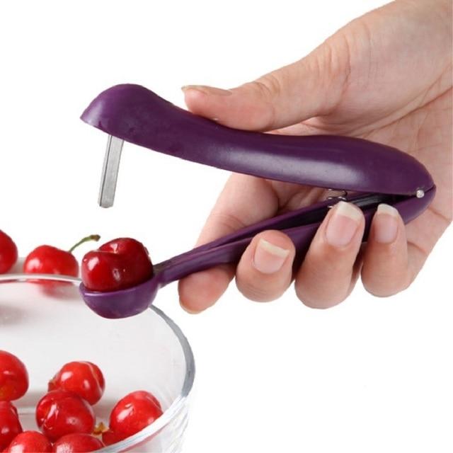1 Pc Plástico Fácil de Frutas Cereja Pitter Cereja Núcleo Semente Remover Frutos Úteis Ferramentas Gadgets de Cozinha Ferramenta Acessórios