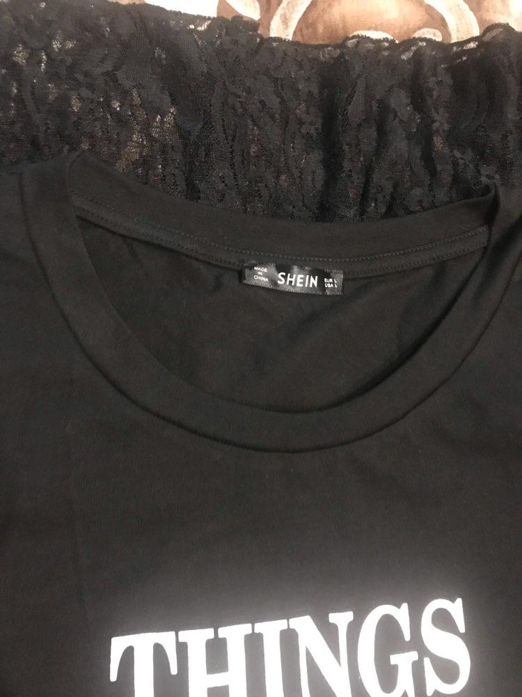 Slogan Print Short Sleeve Lace Hem T Shirt Dress Women Scoop Neck Casual Dress Straight Summer Long Dresses Black Dress photo review