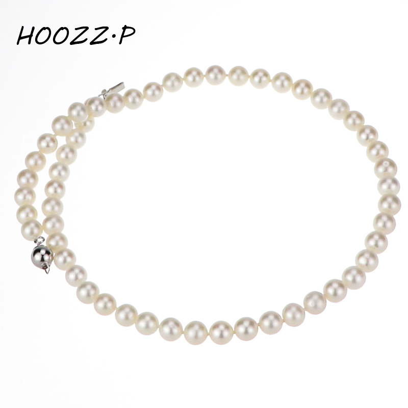 HOOZZ.P 925 Sterling silver Handpicked 6-7mm White Freshwater Cultured Pearl Necklace AA quality Choker Necklace For women цена и фото