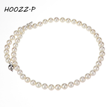 HOOZZ.P Sterling silver 6-7mm white freshwater cultured pearl Necklace AA quality Choker N