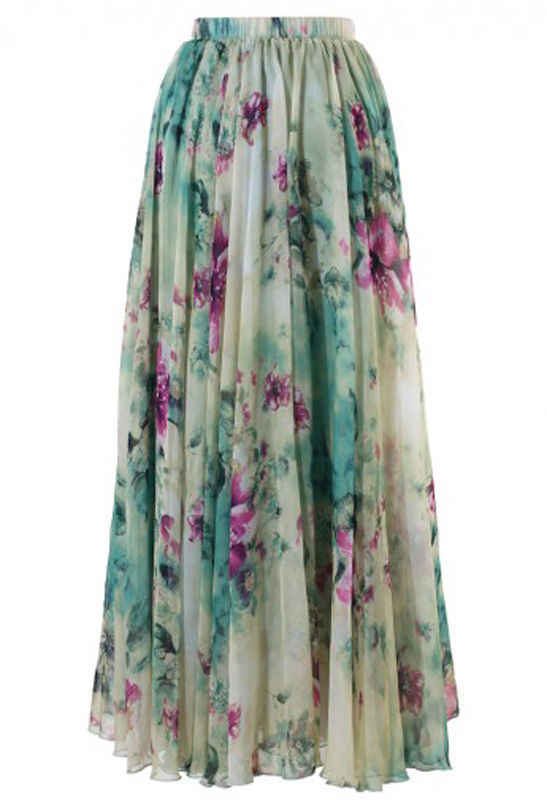 61ec4260bcb58 New Women's Boho Floral Long Maxi Chiffon Skirt Beach Party Sun Vintage  Full Skirts