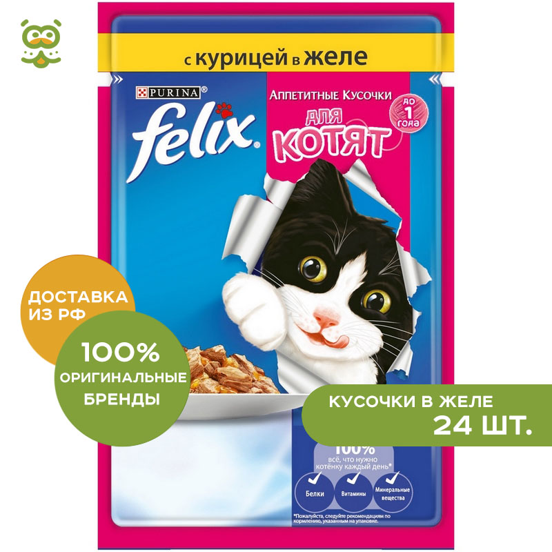 Cat wet food Felix pouch for kittens (pieces in jelly), Chicken, 24*85 g.