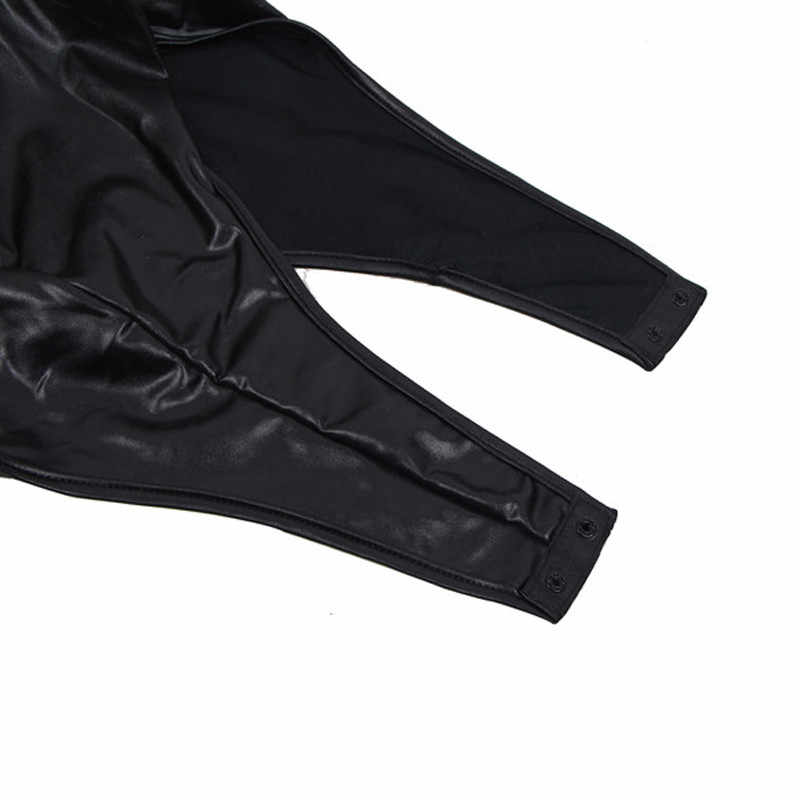PU หนัง Sexy สีดำ Bodysuits V คอครึ่งแขน Rompers Womens Jumpsuit กลับ Zipper Club สไตล์ชุดว่ายน้ำสำหรับสตรี RW80605