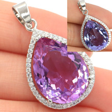 Classic Big Gem 22mm Pink Kunzite, Tourmaline Engagement Womans Party Gift 925 Silver Pendant 40x35mm