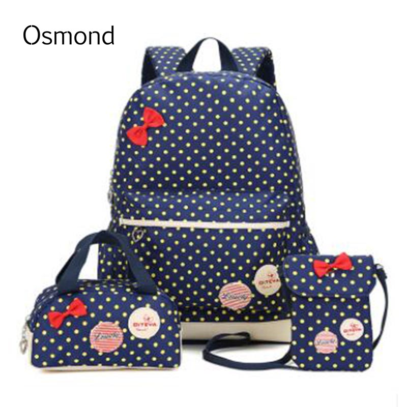 Osmond 3PCS 2017 Hot Sale Children Cute Bow Dot Printing Backpack Bags For School Backpacks Kids