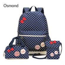 AEQUEEN 2017 Children Cute Bow Dot Printing Backpack Bags For School Backpacks Kids Travel Bookbag