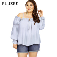 Plusee Autumn Women Plus Size Blouses Gray Off The Shoulder Oversized Lantern Sleeve Sweet Slash Neck Tops XL 4XL 5XL