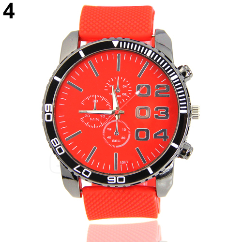 2017 Hot Sale Red Watches Men's Stainless Steel Dial Silicone Rubber Band Sport Analog Qua hot sale red mini r