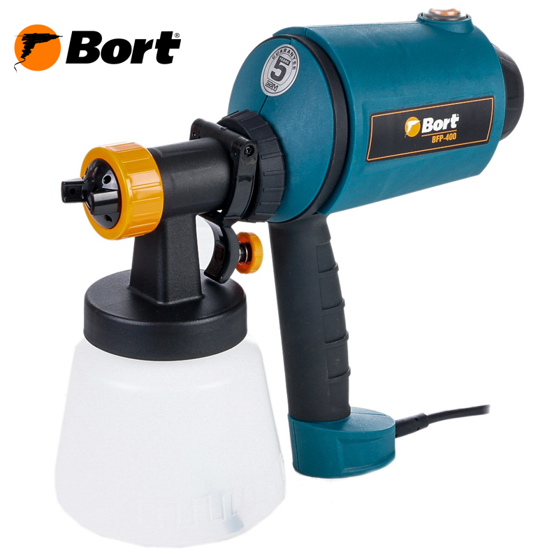Bort Spray Gun High Power Home Electric Paint Sprayer Nozzle Easy Spraying Professional Air Spray Gravity Feed Airbrush Kit HVLP BFP-400 professional newest dual digital lcd power supply tattoo power supply for tattoo machine gun kit high quality free shipping