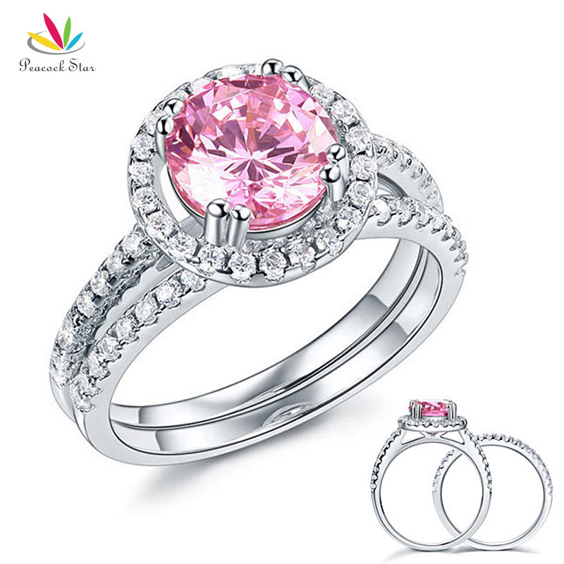 Peacock Star Solid 925 Sterling Silver Wedding Engagement Halo Ring Set 2 Ct Fancy Pink Wedding Jewelry CFR8220 peacock star solid sterling 925 silver bridal wedding promise engagement ring set 2 ct pear jewelry cfr8224