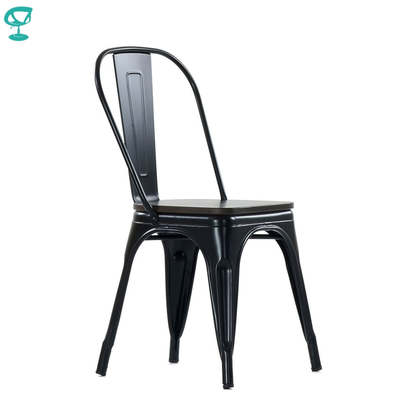 N236BrWoodRAL Barneo N-236 Black Metal Wood Brown Seat Kitchen Interior Stool Chair Kitchen Furniture Free Shipping In Russia