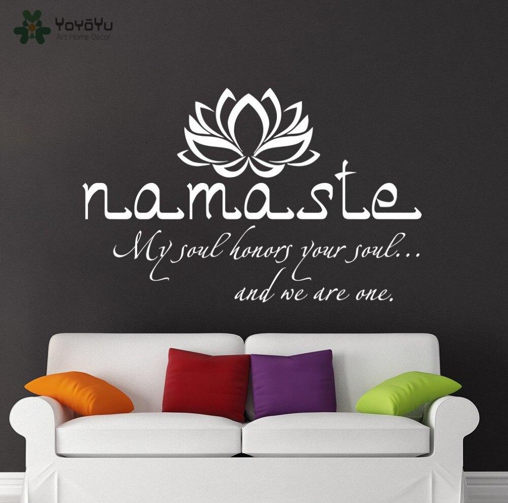 Wall Decal Vinyl Sticker Namaste Quote Buddha Lotus Flower Bedroom