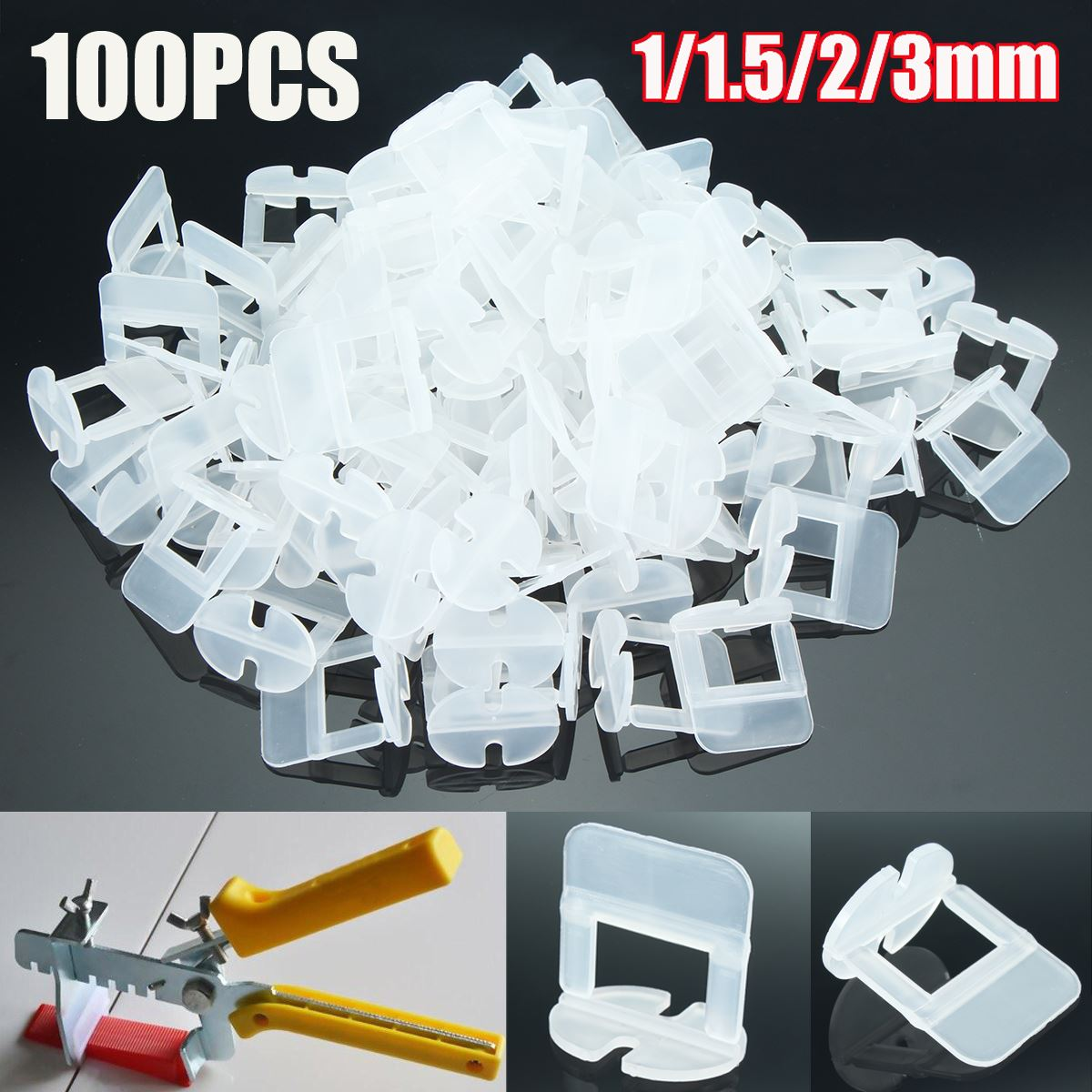 1set100pcs 11523mm Tile Levelling Spacers Clips Flooring Tiling