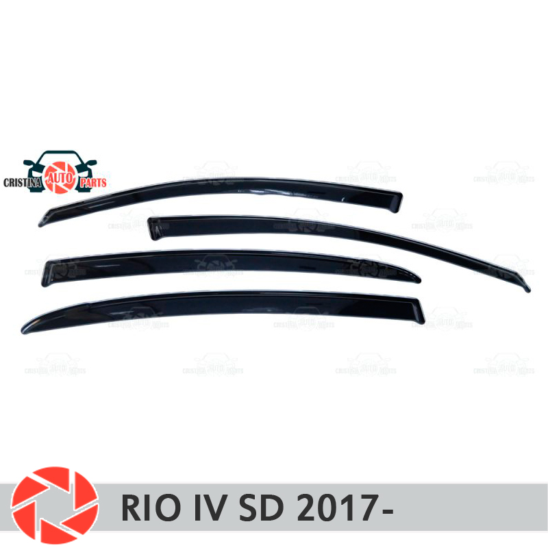 Deflectores de ventana para Kia Rio IV Sedan 2017-deflector de lluvia protección de la suciedad de coche estilismo Decoración Accesorios de moldeo