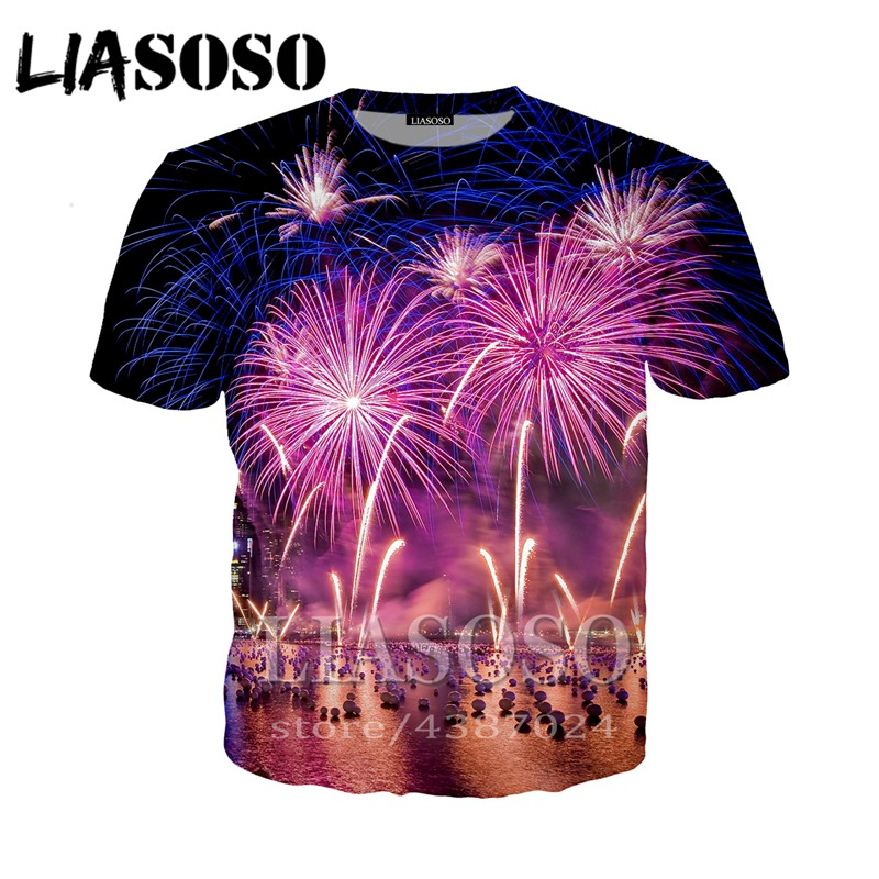 Tops & Tees Contemplative Liasoso Fashion T-shirt 3d Print Hip Hop Fireworks Rock Men Women Anime Streetwear T Shirt Harajuku Shirts Short Sleeve E294 Easy To Use