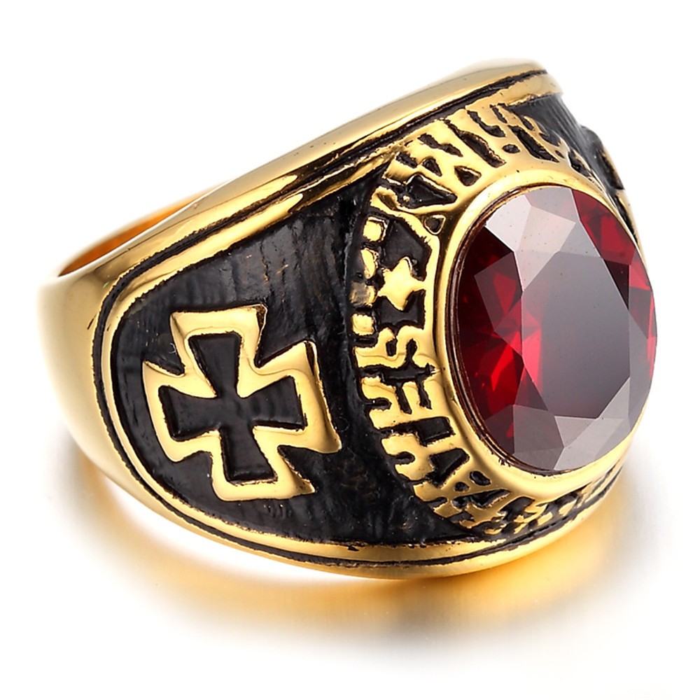 High Quality Titanium Steel Ring Red Stone Punk Finger Rings For Women Fashion Hlollow Cross Jesus Gold Color Wedding Ring
