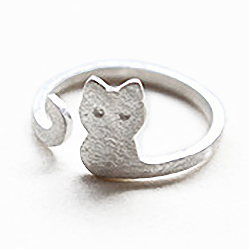 Women Fashion Jewelry Xmas Gift Cartoon Cat Sliver Plated Open Adjustable Ring Gift For Gi