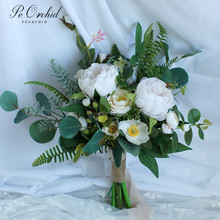 PEORCHID Summer Wedding Bouquets Peonies Rose Elegant Boho Eucalyptus Bridal Bouquet With Peony Green Bridesmaid Flowers