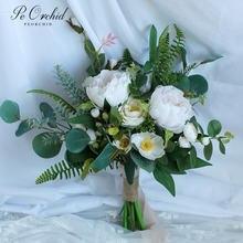 Peorchid летние свадебные букеты пионы Роза элегантный Бохо