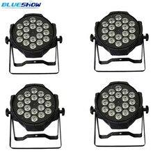 4 pçs/lote, LED par 18x12 W 8chs dmx RGBW 4in1 Quad Die-carcaça de alumínio de fundição led wash luz dj projetor de iluminação de palco