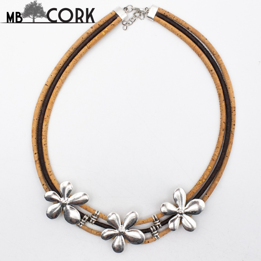 Cork Jewelry: Portugal Cork Necklace ,natural Cork, Three Flower Alloy