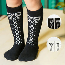 2019 Baby Girls Long Socks Toddler Infant Girl Knee High Bow Tie Socks Leg Warmers Cotton Socks Autumn Winter Warm New 0-6 Years(China)