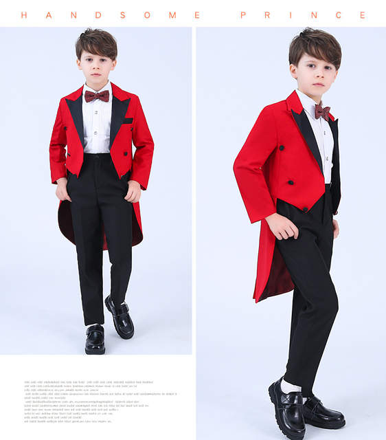 4aa85d2d2f US $42.32 |Children red formal suits boy blazers set teenagers Tuxedo  trendy winter clothes kids wedding coat outfits piano party costume-in  Suits ...