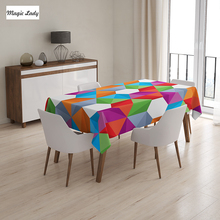 Rectangular Table Cloth Colorful Retro Geometric Triangle Polygonal Mosaic Pattern Green Purple Red 145x120 cm / 145x180 cm