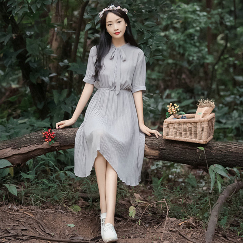 2017 Summer New Arrival Women Cute A-Line Solid Chiffon Dress Short Sleeve Draped Knee Length O-Neck Dresses for Women