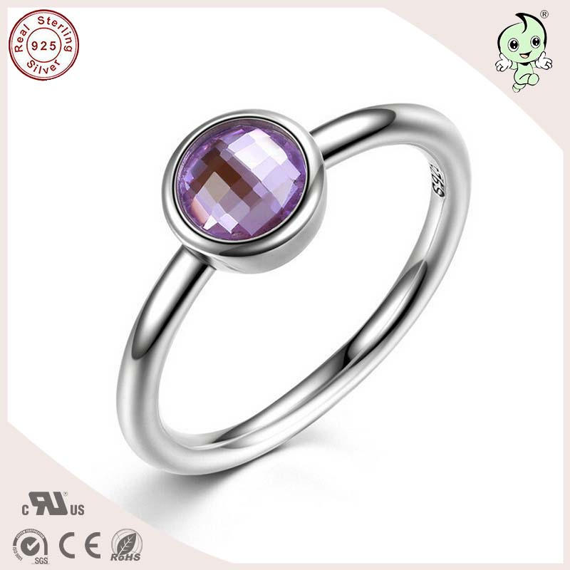 P&R products Popular Simple Design Delicate 925 Pure Silver Pure Stone Flat Engagement Ring for women