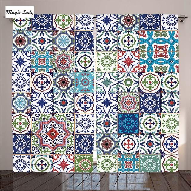 Marokkanischen klassische mosaik fliesen inspiriert patchwork stil muster kunstwerk druck - Fliesen patchwork ...