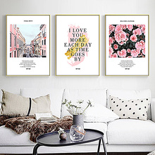 SD LINLEEHON Pink House Nordic Poster Wall Art Canvas Painting Flowers Picture Posters Pictures For Living Room Unframed