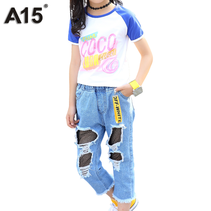 A15 Teenage Girls Outfits Clothes Sets 2018 Kids Clothing Brand Summer T Shirt Children Broken Hole Pants Jean Set 10 12 14 Year